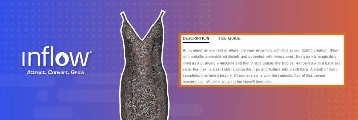 Logo: Inflow. Attract. Convert. Grow. Black Formal Dress with accompanying product description box.