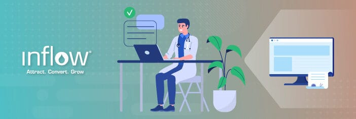 Illustration of doctor sitting at a table writing on a laptop. A desktop screen is to the right, showing website written content.