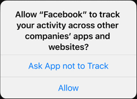 """iPhone notification: Allow """"Facebook"""" to track your activity across other companies' apps and websites? Ask App not to Track/Allow"""