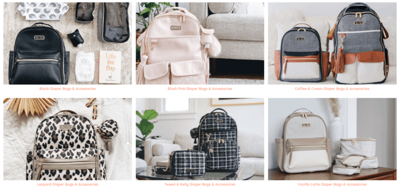 Itzy Ritzy category webpage. Categories of diaper bags and accessories are, left to right: black, blush, coffee & cream, leopard, tweed & kelly, and vanilla latte.