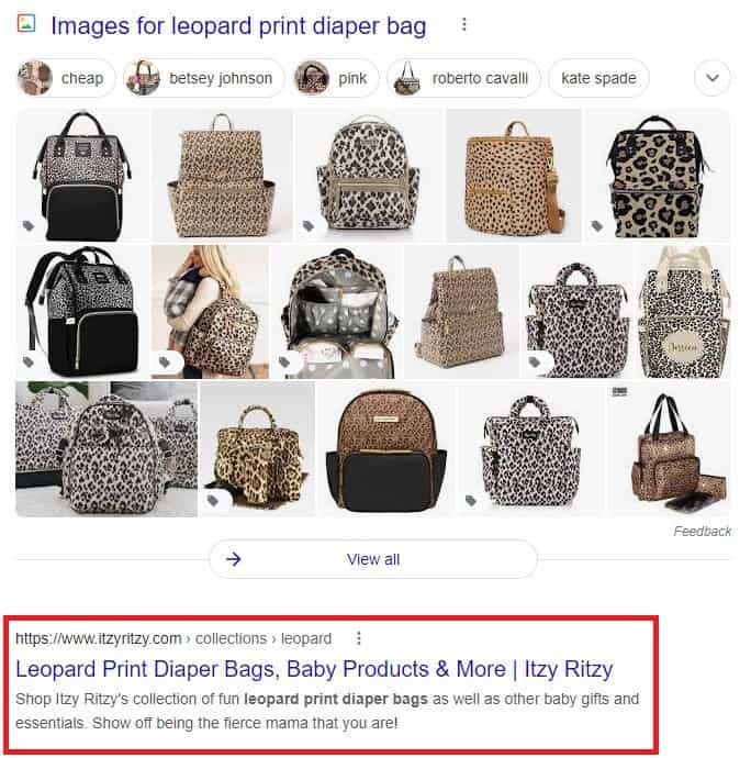 """Google search results for """"leopard print diaper bags."""" Image results followed by Itzy Ritzy category page, highlighted."""