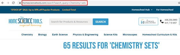 """""""Chemistry sets"""" site search results for HomeScienceTools.com. Site search URL is highlighted."""