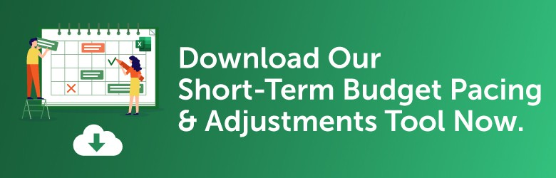 Download Our Short-Term Budget Pacing & Adjustments Tool Now. Logo: Inflow. Attract. Convert. Grow.