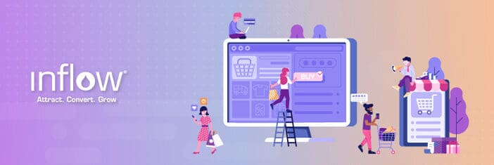 Illustration of human figures shopping online through cell phones and computer screens.