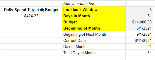 """Customization section within Inflow's Budget Pacing & Adjustments Tool. Highlighted: Lookback Window, Days in Month, Budget, Beginning of Month. """"Daily Spend Target @ Budget"""" included."""